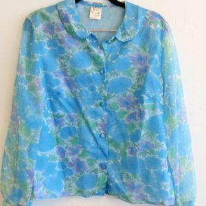 Vintage Blouse Floral Chiffon Sheer Sleeves